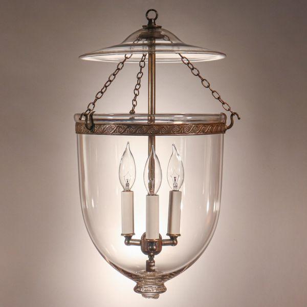 Antique Clear Glass Bell Jar Lantern