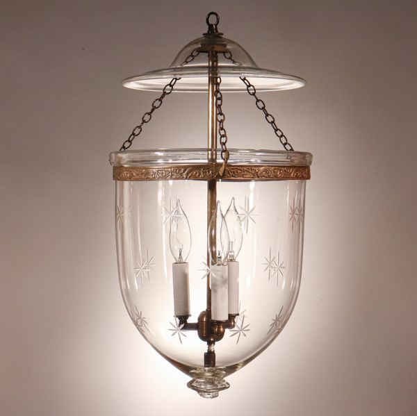 Antique Bell Jar Lantern with Star Etching