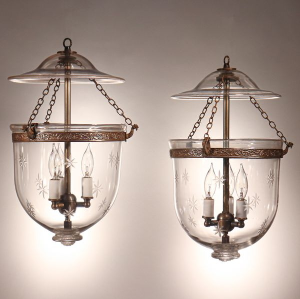 Pair of Bell Jar Lanterns with Etched Stars