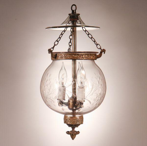 Antique Globe Bell Jar Lantern with Vine Etching