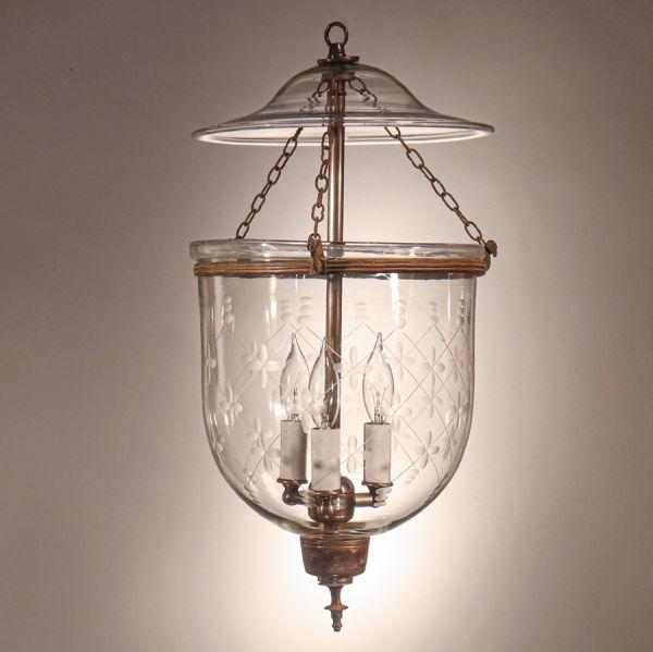 Antique Bell Jar Lantern with Etched Trellis Motif