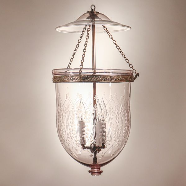 Large Antique Bell Jar Lantern with Wheat Etching