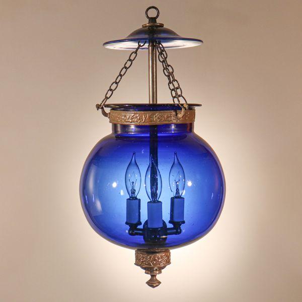 Antique Sapphire Blue Globe Bell Jar Lantern