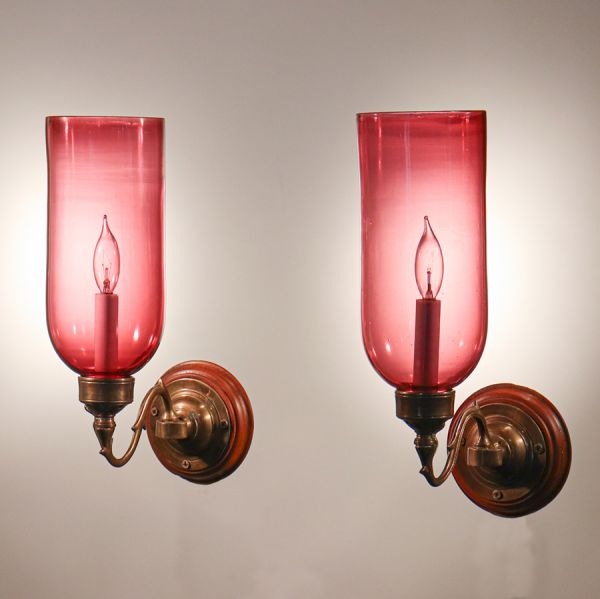 Pair of Antique Cranberry Glass Hurricane Shade Wall Sconces