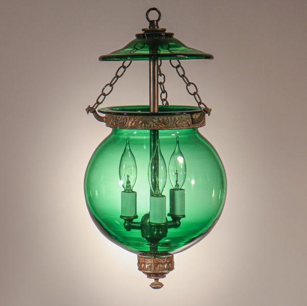 Antique Emerald Green Glass Globe Bell Jar Lantern