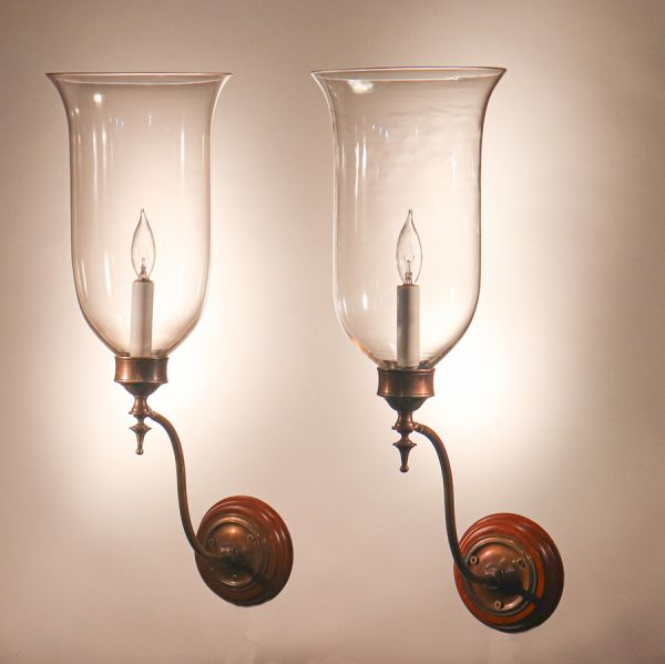 Pair of Antique English Hurricane Shade Wall Sconces
