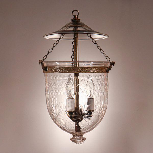 Antique Petite Etched Bell Jar Lantern